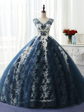 Delicate Navy Blue Lace Up Scoop Ruffles and Pattern Sweet 16 Quinceanera Dress Organza and Taffeta and Chiffon and Tulle Sleeveless