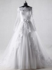White A-line Lace and Belt Wedding Gown Zipper Tulle Long Sleeves
