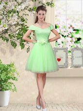 Cap Sleeves Lace Up Knee Length Lace and Belt Dama Dress for Quinceanera