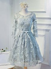 Best Grey Lace Up Scoop Lace and Appliques and Belt Homecoming Dress Online Organza Long Sleeves