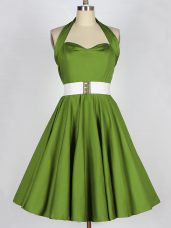 Affordable Olive Green Sleeveless Taffeta Lace Up Wedding Guest Dresses for Prom and Party and Wedding Party