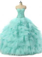 Flirting Floor Length Ball Gowns Sleeveless Apple Green Sweet 16 Quinceanera Dress Lace Up