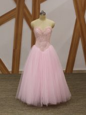 Smart Floor Length Baby Pink High School Pageant Dress Tulle Sleeveless Beading
