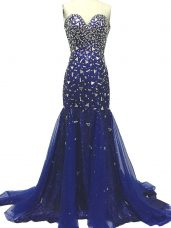 Royal Blue Sleeveless Tulle Brush Train Zipper Evening Party Dresses for Prom and Party