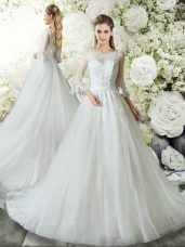 Tulle 3 4 Length Sleeve Wedding Gowns Court Train and Lace