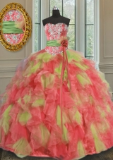 Sweetheart Sleeveless Organza 15 Quinceanera Dress Beading and Ruffles and Sashes|ribbons Lace Up