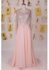 Scoop Pink Column/Sheath Beading Prom Evening Gown Zipper Chiffon Long Sleeves With Train