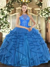 Low Price High-neck Sleeveless Quinceanera Gowns Floor Length Beading and Ruffles Teal Organza