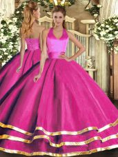Flirting Fuchsia Halter Top Lace Up Ruffled Layers 15 Quinceanera Dress Sleeveless