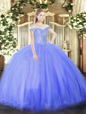 Fancy Blue Lace Up Sweet 16 Dresses Beading Sleeveless Floor Length