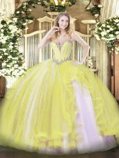 Sweetheart Sleeveless Tulle Vestidos de Quinceanera Beading and Ruffles Lace Up