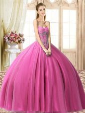 Deluxe Fuchsia Sweetheart Neckline Beading Quince Ball Gowns Sleeveless Lace Up