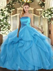 Extravagant Baby Blue Sleeveless Tulle Lace Up Sweet 16 Quinceanera Dress for Military Ball and Sweet 16 and Quinceanera