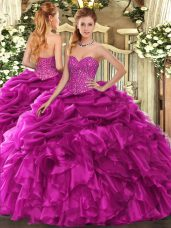 Fuchsia Quinceanera Dress Military Ball and Sweet 16 and Quinceanera with Beading and Ruffles and Pick Ups Sweetheart Sleeveless Lace Up