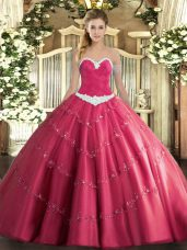 Traditional Ball Gowns 15 Quinceanera Dress Hot Pink Sweetheart Tulle Sleeveless Floor Length Lace Up