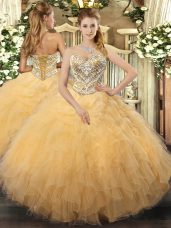 Glamorous Tulle Sleeveless Floor Length Sweet 16 Dresses and Beading and Ruffles