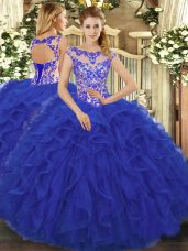 Cute Sleeveless Floor Length Beading and Ruffles Lace Up Quinceanera Dresses with Royal Blue
