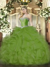 Olive Green Lace Up Sweetheart Beading and Ruffles Quince Ball Gowns Organza Sleeveless