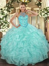 Designer Organza Halter Top Sleeveless Lace Up Beading and Ruffles Quince Ball Gowns in Apple Green