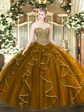 Brown Lace Up Sweetheart Beading and Ruffles Quinceanera Gown Tulle Sleeveless
