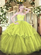 Stunning Olive Green Tulle Zipper Quinceanera Dress Sleeveless Brush Train Beading and Lace and Ruffled Layers