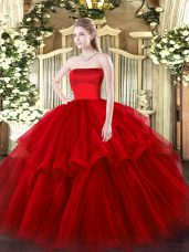 Decent Wine Red Sleeveless Brush Train Ruffled Layers Quince Ball Gowns