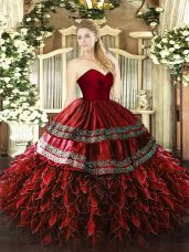 Adorable Wine Red Zipper Sweetheart Embroidery and Ruffles Quinceanera Dress Organza and Taffeta Sleeveless