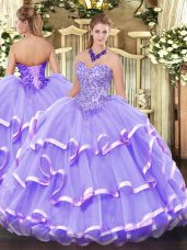 Custom Designed Organza Sweetheart Sleeveless Lace Up Appliques and Ruffled Layers 15th Birthday Dress in Lavender