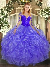 Super Floor Length Lavender Sweet 16 Quinceanera Dress Organza Long Sleeves Lace and Ruffles