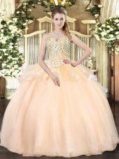 Champagne Lace Up Sweetheart Beading Sweet 16 Dresses Organza Sleeveless