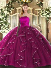 High Class Fuchsia Sleeveless Floor Length Ruffles Lace Up 15 Quinceanera Dress