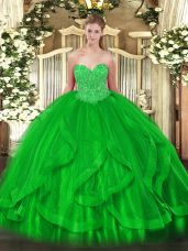 Customized Floor Length Green 15 Quinceanera Dress Sweetheart Sleeveless Lace Up