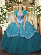 Teal Lace Up Sweetheart Beading and Embroidery Quinceanera Gowns Satin and Tulle Sleeveless