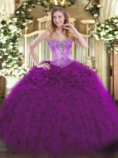 Eggplant Purple Lace Up Sweetheart Beading and Ruffles 15 Quinceanera Dress Organza Sleeveless