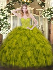 Sweetheart Sleeveless Quinceanera Dress Floor Length Beading and Ruffles Olive Green Organza