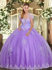 Tulle Strapless Sleeveless Lace Up Appliques 15th Birthday Dress in Lavender