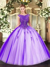 Sweet Sleeveless Zipper Floor Length Beading and Appliques Quinceanera Gowns