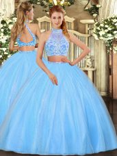 Glorious Aqua Blue Sleeveless Tulle Criss Cross Quinceanera Gown for Military Ball and Sweet 16 and Quinceanera