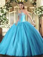 Great Floor Length Aqua Blue Quinceanera Gown Sweetheart Sleeveless Lace Up