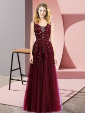 Custom Designed Burgundy Tulle Backless Square Sleeveless Floor Length Casual Dresses Beading and Appliques