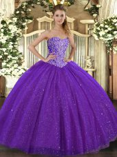 Low Price Purple Tulle Lace Up Sweet 16 Quinceanera Dress Sleeveless Floor Length Beading