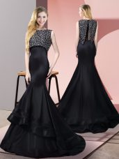 Sumptuous Black Mermaid Bateau Sleeveless Taffeta and Elastic Woven Satin Floor Length Sweep Train Zipper Beading Party Dress Wholesale
