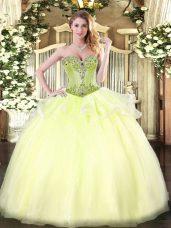 Fashionable Light Yellow Lace Up Sweet 16 Dress Beading Sleeveless Floor Length
