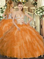 Sexy Orange Straps Neckline Beading and Ruffles Quinceanera Dress Sleeveless Lace Up