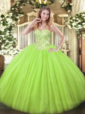 Yellow Green Sweetheart Neckline Appliques Quinceanera Dress Sleeveless Lace Up