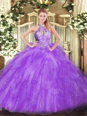 Customized Floor Length Lavender Sweet 16 Dress Organza Sleeveless Beading