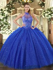 Tulle and Sequined Halter Top Sleeveless Lace Up Beading and Embroidery Sweet 16 Dress in Royal Blue