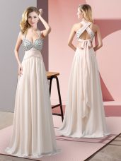 Sumptuous Champagne Chiffon Criss Cross Party Dress Wholesale Sleeveless Floor Length Beading
