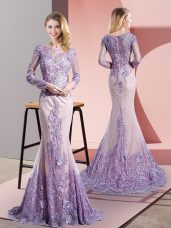 Fabulous Tulle Long Sleeves Party Dress Wholesale Sweep Train and Beading and Appliques