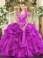 Hot Sale Fuchsia Lace Up Sweetheart Beading and Ruffles Quinceanera Gowns Organza Sleeveless
